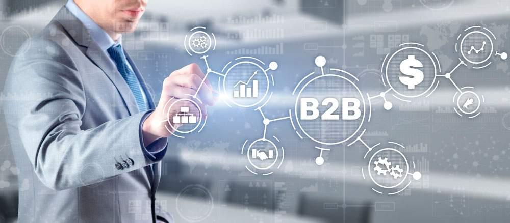 ventas b2b y b2c empresario seleccionando un tipo de venta